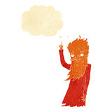 Cartoon fire spirit with thought bubble Stock Photos