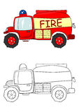 Cartoon fire truck. Coloring page with a cartoon fire engine on a white background. Vector Stock Images