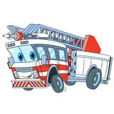 Cartoon fire truck. Cartoon emergency transport. Fire truck, isolated on white background. Childish vector illustration and colorful book page for kids Stock Image