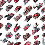 Cartoon Fire Truck seamless pattern. Isolated on white background Royalty Free Stock Photos