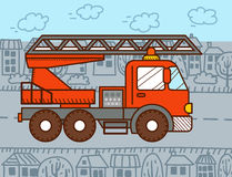 Cartoon fire truck. Vector illustration for kids and babies Royalty Free Stock Images
