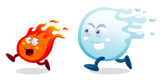 Cartoon fire and water. Illustration of cartoon fire and water running Stock Photo