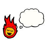 Cartoon fireball with thought bubble. Retro cartoon with texture. Isolated on White Royalty Free Stock Images