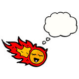 Cartoon fireball with thought bubble. Retro cartoon with texture. Isolated on White Royalty Free Stock Photo