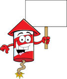 Cartoon Firecracker Holding a Sign Royalty Free Stock Photography