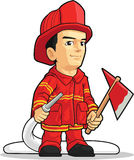 Cartoon of Firefighter Boy. A vector image of a firefighter holding an axe and a water spray. Drawn in cartoon style, this vector is very good for design that Stock Photography