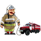 Cartoon firefighter with fire engine Royalty Free Stock Images