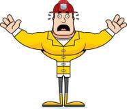 Cartoon Scared Firefighter. A cartoon firefighter looking scared Stock Photos