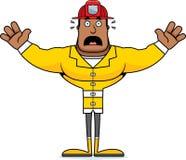 Cartoon Scared Firefighter. A cartoon firefighter looking scared Stock Photo