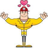 Cartoon Firefighter  Hug. A cartoon firefighter ready to give a hug Stock Image