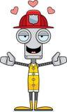 Cartoon Firefighter Robot Hug Stock Image