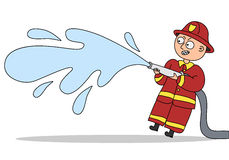 Cartoon firefighter. Small funny fireman with water hose Royalty Free Stock Photos
