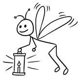 Cartoon of Firefly. Cartoon vector doodle stickman firefly flying with a lantern Stock Photos