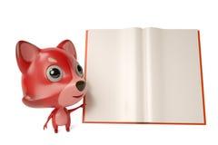A cartoon firefox with a  book. 3D illustration. Royalty Free Stock Photos