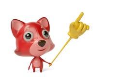 A cartoon firefox with a  finger Toys. 3D illustration. Stock Photos