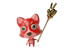 A cartoon firefox with a  finger Toys. 3D illustration. A cartoon firefox with a  finger Toys Royalty Free Stock Images