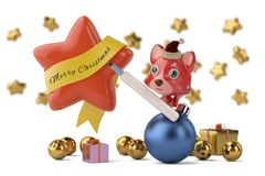 Cartoon Firefox with marker pen to write Merry Christmas in the. Stars.3D illustration Royalty Free Stock Photo