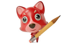 A cartoon firefox with a  pencil. 3D illustration. A cartoon firefox with a  pencil Royalty Free Stock Image