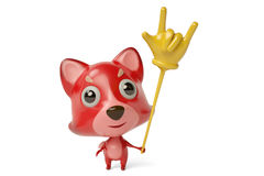 A cartoon firefox with a  rock finger Toys. 3D illustration. Stock Images