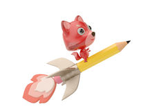 A cartoon firefox on  rocket pencil,3D illustration. A cartoon firefox on  rocket pencil 3D illustration Royalty Free Stock Photography