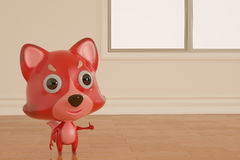 A cartoon firefox on the room. 3D illustration. A cartoon firefox on the room 3D illustration Stock Image