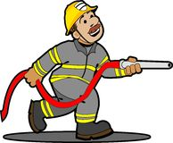 Cartoon fireman. Fireman spraying water onto a burning building Stock Image