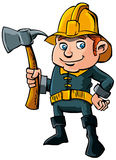 Cartoon fireman with axe. And a yellow helmet Royalty Free Stock Photo