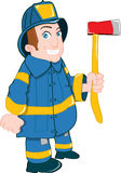 Cartoon fireman with axe Royalty Free Stock Photography
