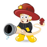Cartoon fireman boy. Cartoon of a young boy in a fireman's uniform, holding a fire hose connected to a fire hydrant behind him; isolated on a white background Stock Images