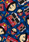 Cartoon Fireman and Fire Engine Pattern. Adorably Cute Cartoon American Style Fireman - Firefighter, Fire Truck and Axes Pattern.  An EPS file is also available Royalty Free Stock Photo
