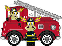 Cartoon Fireman Giraffe. Vector Illustration of a Cute Cartoon Fireman - Firefighter Giraffe Character Stock Image