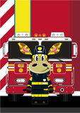 Cartoon Fireman Giraffe. Vector Illustration of a Cute Cartoon Fireman - Firefighter Giraffe Character Royalty Free Stock Images
