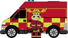Cartoon Fireman Giraffe. Vector Illustration of a Cute Cartoon Fireman - Firefighter Giraffe Character Royalty Free Stock Photos