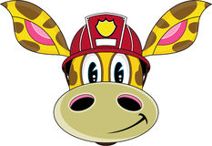 Cartoon Fireman Giraffe. Vector Illustration of a Cute Cartoon Fireman - Firefighter Giraffe Character Stock Photos