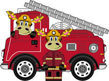 Cartoon Fireman Giraffe. Vector Illustration of a Cute Cartoon Fireman - Firefighter Giraffe Character Royalty Free Stock Photo