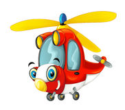 Cartoon fireman helicopter Royalty Free Stock Image