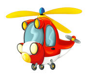 Cartoon fireman helicopter Royalty Free Stock Photos