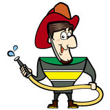 Cartoon Fireman. Holding a fire hose Royalty Free Stock Images