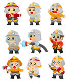 Cartoon Fireman icon set. Drawing Royalty Free Stock Images