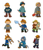 Cartoon Fireman icon set. Drawing Stock Image