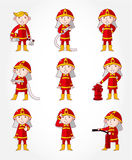Cartoon Fireman icon set. Drawing Royalty Free Stock Image