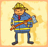 Cartoon fireman illustration , vector icon. Royalty Free Stock Image