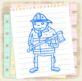 Cartoon fireman on paper note, vector illustration Stock Image