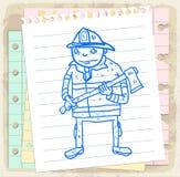 Cartoon fireman on paper note, vector illustration.  Stock Image