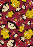 Cartoon Fireman Pattern Royalty Free Stock Photography