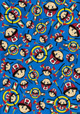 Cartoon Fireman Pattern. Adorably Cute Cartoon Fireman - Firefighter Pattern with Fire Axes.  An EPS file is also available Royalty Free Stock Image