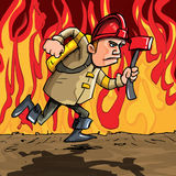 Cartoon fireman running with an axe. Cartoon fireman running. Flames in the background Royalty Free Stock Images