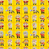 Cartoon Fireman seamless pattern. Drawing Stock Image