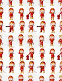Cartoon Fireman seamless pattern Stock Photos