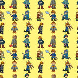 Cartoon Fireman seamless pattern. Drawing Royalty Free Stock Image